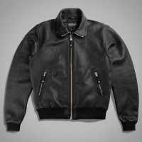 Куртка мужская LEATHER BOMBER BOMBARDIER BL. Черный
