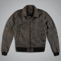 Куртка мужская LEATHER BOMBER BOMBARDIER BR. Коричневый